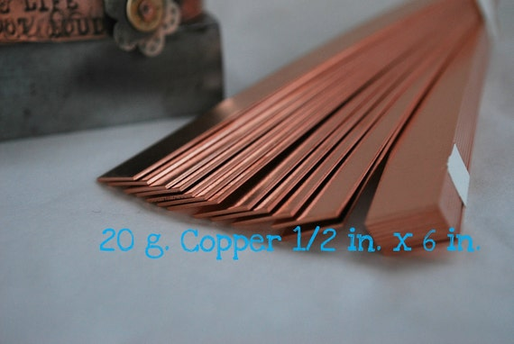 Copper Bracelet Cuff Stamping Blanks- 20g.-1/2 in. x 6 in. Easy to work with- Quantity 3-Use alone -MS20G.5or rivet