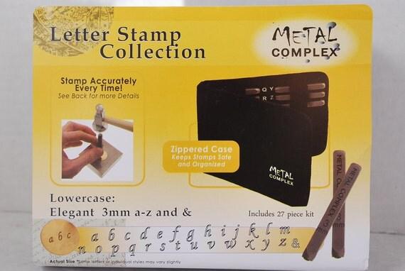 """Metal Stamp Set-Metal Stamping Kit in """"Elegant/Corsiva"""" Font Lowercase Alphabet  Stamp Set-Metal Supply Chick Jewelry Stamping Supplies"""