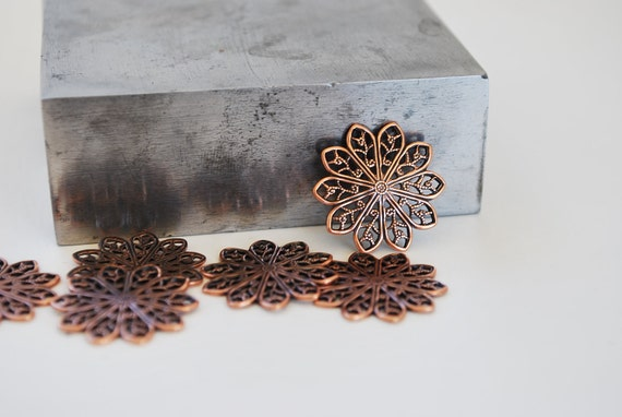 4 Copper Filigree Petal Flowers-20 mm- Perfect for Layering and Jewelry Making- Looks Great with Leather Cuffs