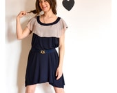 DRESS SALE Ladybug dress navy and dusky pink