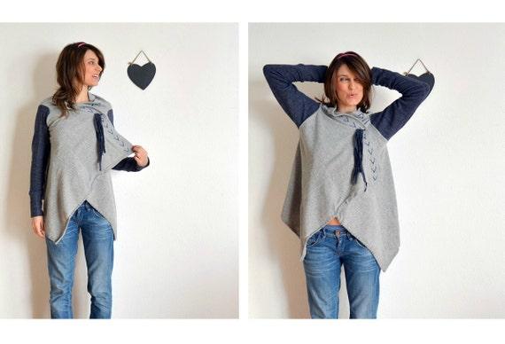 Grey and Blue cozy cardigan