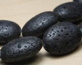 Black  Oval Lava Beads 18x13mm  (11 beads)