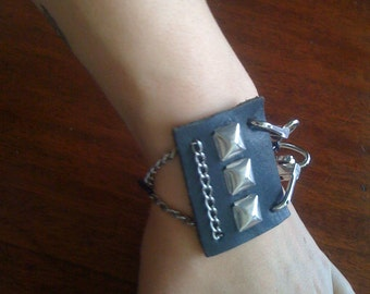 Leather Stud Square and Chain Bracelet FREE SHIPPING USA