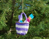 Hand Knitted shopping Tote Christmas Ornament
