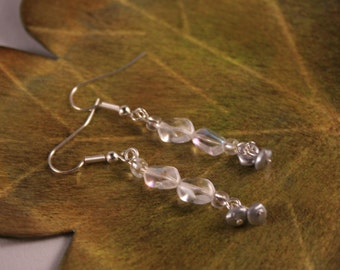 Silver Dangle Earrings with glass beads (C-6)