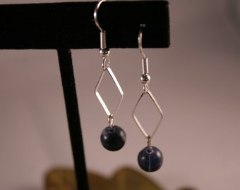 Silver Earrings with dangling Silver Triangle and Dark Blue Bead (DB-12)