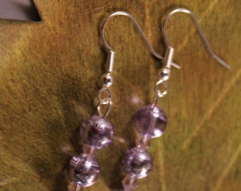 Silver Earrings with Purple Swirls and Crystals (P-29)
