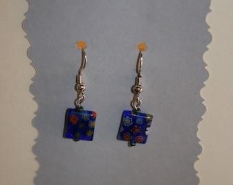 Silver Earrings with Hippie Blue