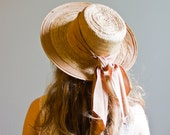 Taupe Bow Straw Hat