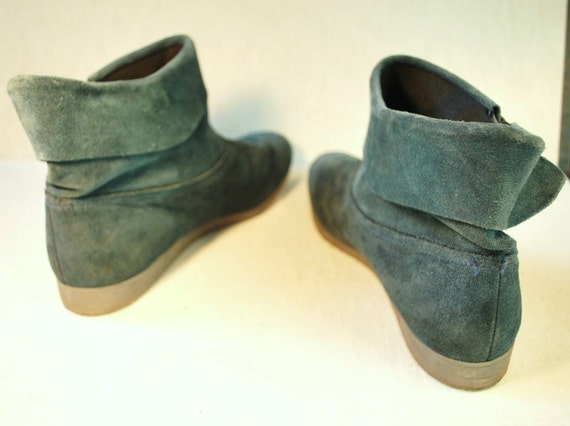 RESERVED Please do not buy. Jewel tone Blue green suede booties .Slip on pixie boots with a fold over cuff and the sweetest little bow detail .Bees by Beacon in size 9 M