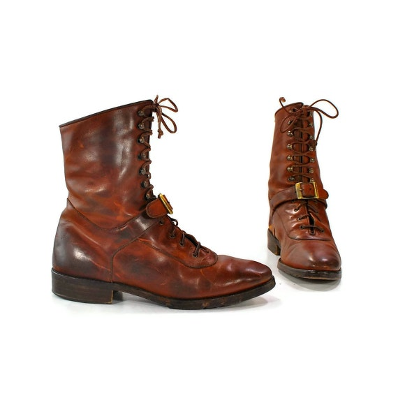 Cavalry Mama: Vintage Joan & David lace up boots. Distressed to Impress. Strap and Buckle Grandstand - Womens 6 (Vtg 6.5)