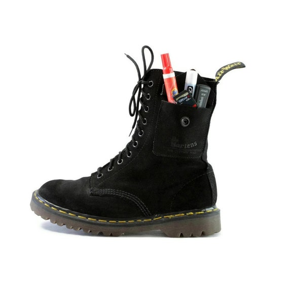 Latchkey Kid Luxe: Carry All Combat Boots. Black Suede-ish Docs. Pockets for the Punk Pedestrian. -  Mens size 8.5 to 9 (UK 8)
