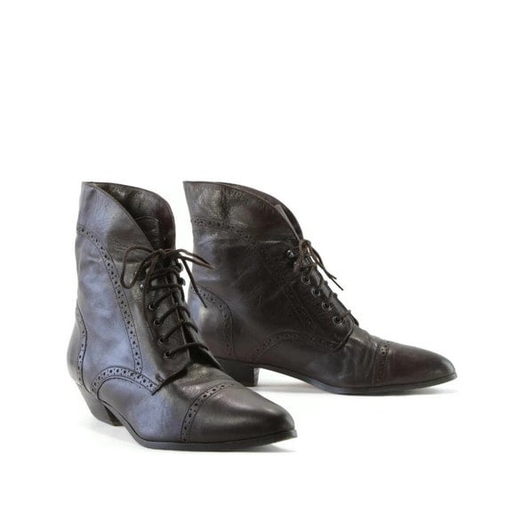 70 Percent Cocoa: Perforated Oxford Granny Boots. Popped Collar or Foldover Cuff. Made in Chile by Mainframe - womens size 11 M