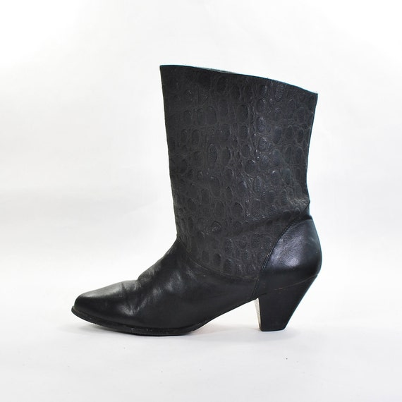 Little Black Boots: Mid Calf Fashion Boots made in Yugoslavia with love. Asymmetrical Cuff, Animal Textured. - Women's size 7.5 (Vtg 8)