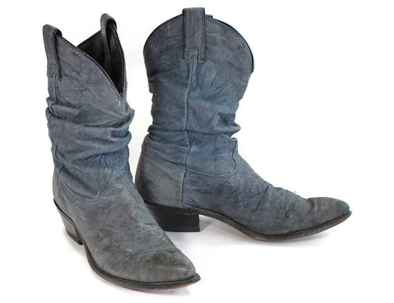 Denim Cowgirl. Faded Blue Leather Pee Wee Western Boots by Code West. Beat Up but not Beat Down. - Womens size 8.5 to 9