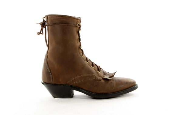 Victorian Hick: Gorgeously Styled Lacer Boots by Laredo. Granny gets Country in Chocolate Brown Leather - Women's size 6.5 (Vtg 7)