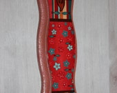 Handmade Mezuzah fish and flowers red front pink sides