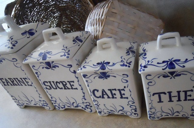 French Script Ceramic Canisters