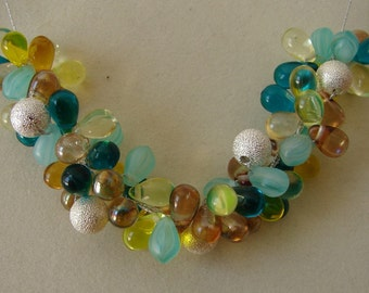Glass and silver beads necklace