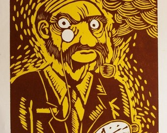 Victorian Father and watch clock woodcut brown and yellow