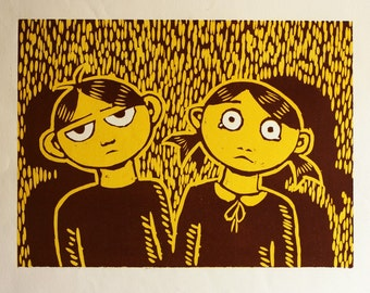 Twins Brother and Sister Halloween Reduction Block Woodcut Brown Original