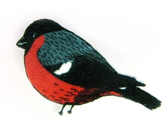 Bullfinch - Bird Brooch Pin Shrinky Plastic