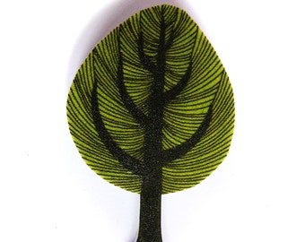 Tree brooch - illustrated badge