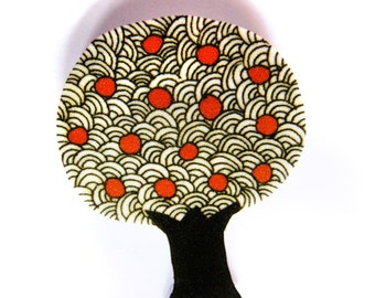 Apple tree brooch badge pin