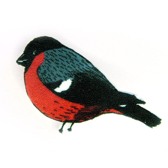 Bullfinch - Bird Brooch Pin Shrinky Plastic
