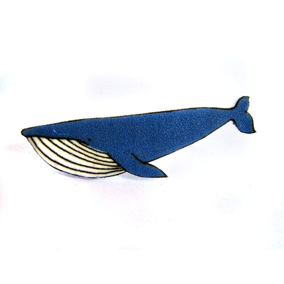 Blue Whale Broch Pin - Shrinky Plastic