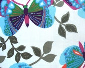 cotton print fabric - Blue and Pink Butterflies on Off White 1 yard ctnp097