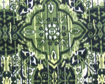 Cotton Fabric Print - Olive Green Ikat Print 1 Yard ctnp126
