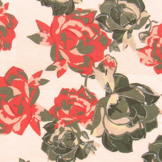 cotton print fabric - Orange and Olive Rose Print on Off white - 1 yard ctnp090