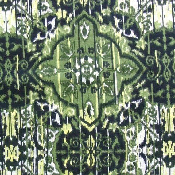 Cotton Fabric Print - Olive Green Ikat Print 1 Yard ctnp126