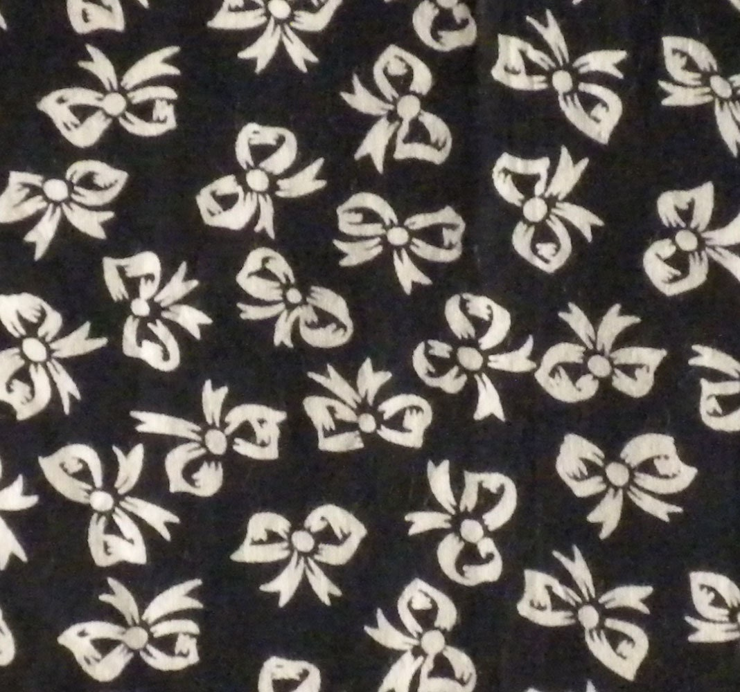 Printed cotton fabric black and white bow pattern fat by for Printed cotton fabric