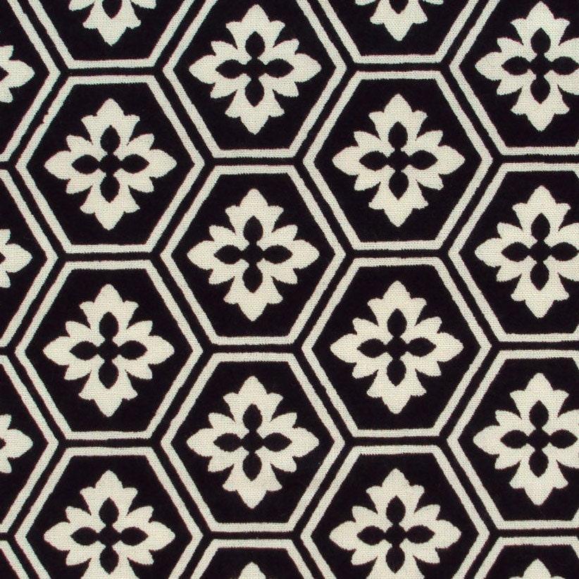 Black and white geometric print cotton fabric 1 yard by for Black and white fabric