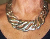 Vintage Egyptian Silvertone Panel High Fashion Tribal Necklace