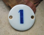 Vintage European Porcelain House Number Plaque Sign Cobalt Blue Number 1