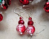 Sterling Silver Earrings Glass Red White PEPPERMINT TWIST Crackle