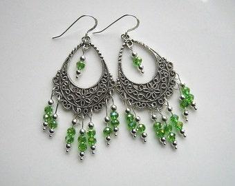 Silver Green Chandelier Earrings Green Crystal Filigree Earrings