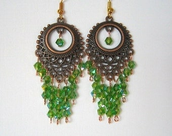 Long Antique Copper and Green Crystal Chandelier Earrings Green Chandelier Earrings