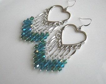 Blue Green Chandelier Earrings Blue Green Crystal Chandelier Earrings