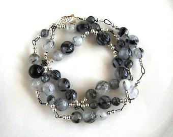 Linked Tourmalinated Quartz Necklace Rutilated Quartz Necklace (27 inches)