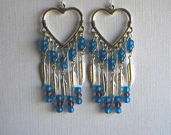 Blue Wire Wrapped Earrings Blue Chandelier Earrings