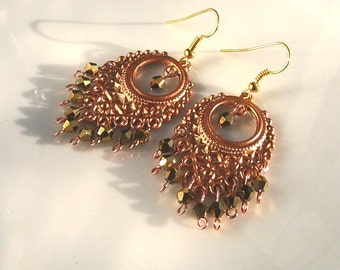 Copper and Golden Crystal Chandelier Earrings Golden Chandelier Earrings Copper Earrings