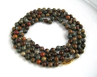 Long Picasso Jasper Handknotted Necklace Long Picasso Jasper Necklace (43 inches)