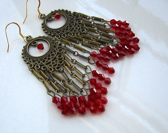 Long Red Chandelier Earrings Red Crystal Chandelier Earrings