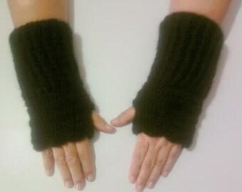 CLEARANCE SALE! Crochet Fingerless Gloves Black Mohair Fingerless Mittens Armwarmer Women Fashion Accessories Gift For Her Free Shipment