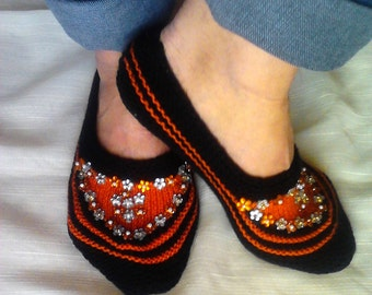 CLEARANCE SALE! Knit Slippers Black and Orange with Sequins House Shoes Lounge Shoes Indoor Shoes Slipper Socks   Gift For Her Free Shipment