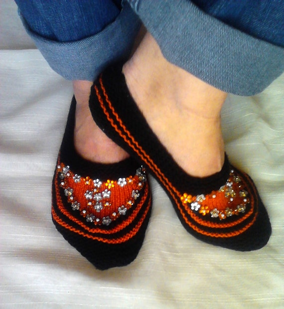Knit Slippers Black and Orange with Sequins House Shoes Lounge Shoes Indoor Shoes Slipper Socks Women Fashion Accessories  Gift For Her